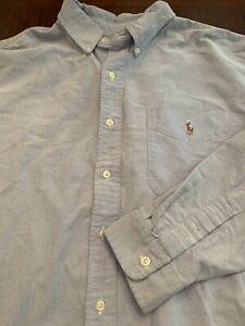 Mens-RALPH-LAUREN-POLO-Button-Down-Shirt-Blue-Oxford-Size-XL
