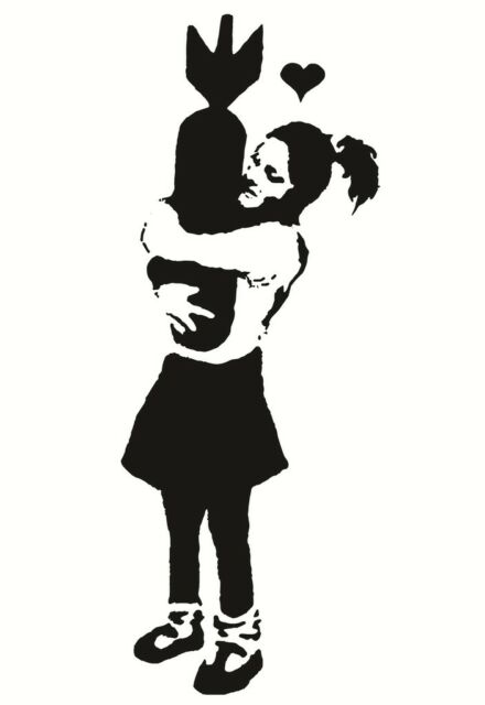 210 x 297mm Banksy Girl Hugging a Bomb Home Decor Canvas Print A4 Size