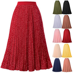Women-039-s-Elastic-A-line-High-Waist-Flare-Solid-Mid-Pleated-Pleuche-Work-Skirt