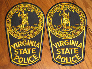 2-Virginia-State-Police-Police-Shoulder-Patches-Black-Gold-FREE-USA-SHIPPING
