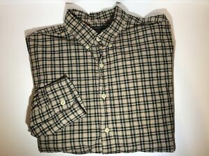 Abercrombie-amp-Fitch-Button-Down-Casual-Dress-Shirt-Mens-Sz-Large-Brown-Plaid-L-S