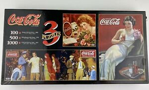 Coca-Cola Three in One Puzzle 97130 Rare NEW SEALED Coke collectibles vintage