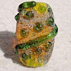 SNAKESKIN Handmade Art Glass Focal Bead Flaming Fools Lampwork Art Glass SRA
