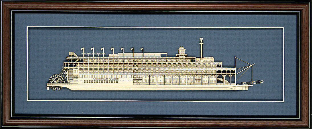 Wood Cutaway Model of American Queen - Stern Wheeler - Made in the USA