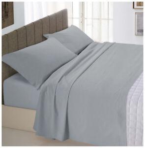 Completo-letto-matrimoniale-2-piazze-grigio-cotone-set-lenzuola-federe-parure