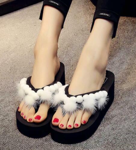 Women/'s Flip Flop Platform 7 Colors Slipper Wedge Sweet Casual Shoes