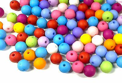 100pcs multi coloured matte acrylic beads 10mm round spacer