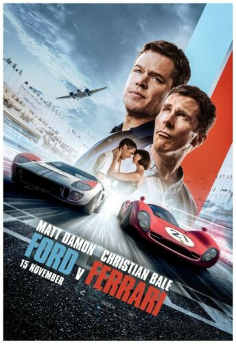 "Damon Ford Vs Ferrari Poster 24x36/"" Wall Art Print - Bale Version C 2019"