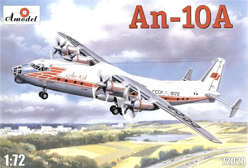 Antonov An-10A Passenger Airliner + Magazine 'An-10'    1 72 by Amodel