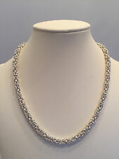 Chainmaille Sterling Silver Byzantine Necklace with a Twist. 18 Inches.