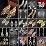 N Luxury Women Crystal Dangle Tassel Leaves Ear Stud 925 Silver Earrings Jewelry