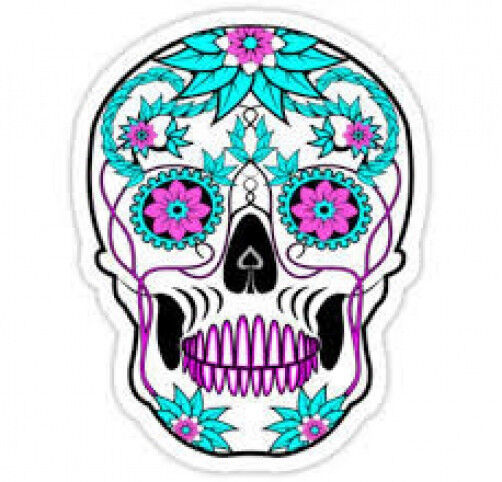20 WATER SLIDE NAIL  DECALS TRANSFERS TEAL AND PURPLE SUGAR SKULL paper ink