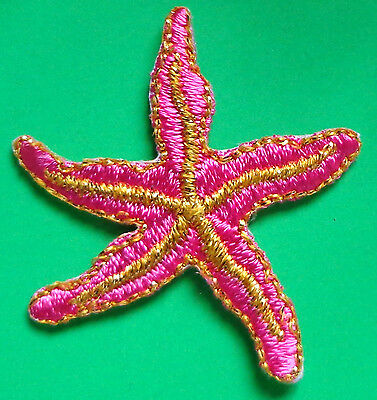 Embroidered Iron-On Applique Starfish, 2 x 2 inch