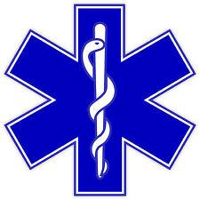 Stella della vita star of life EMS medicine etichetta sticker 12cm x 12cm