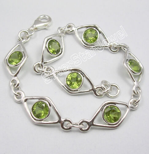 ".925 Argent Massif Original Peridot Gems Unisexe Bracelet 7 5//8/"" FACTORY DIRECT"