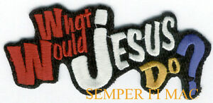 WHAT-WOULD-JESUS-DO-WWJD-CHRISTIAN-Iron-On-COLLECTOR-Hat-Patch-Cross-WOW