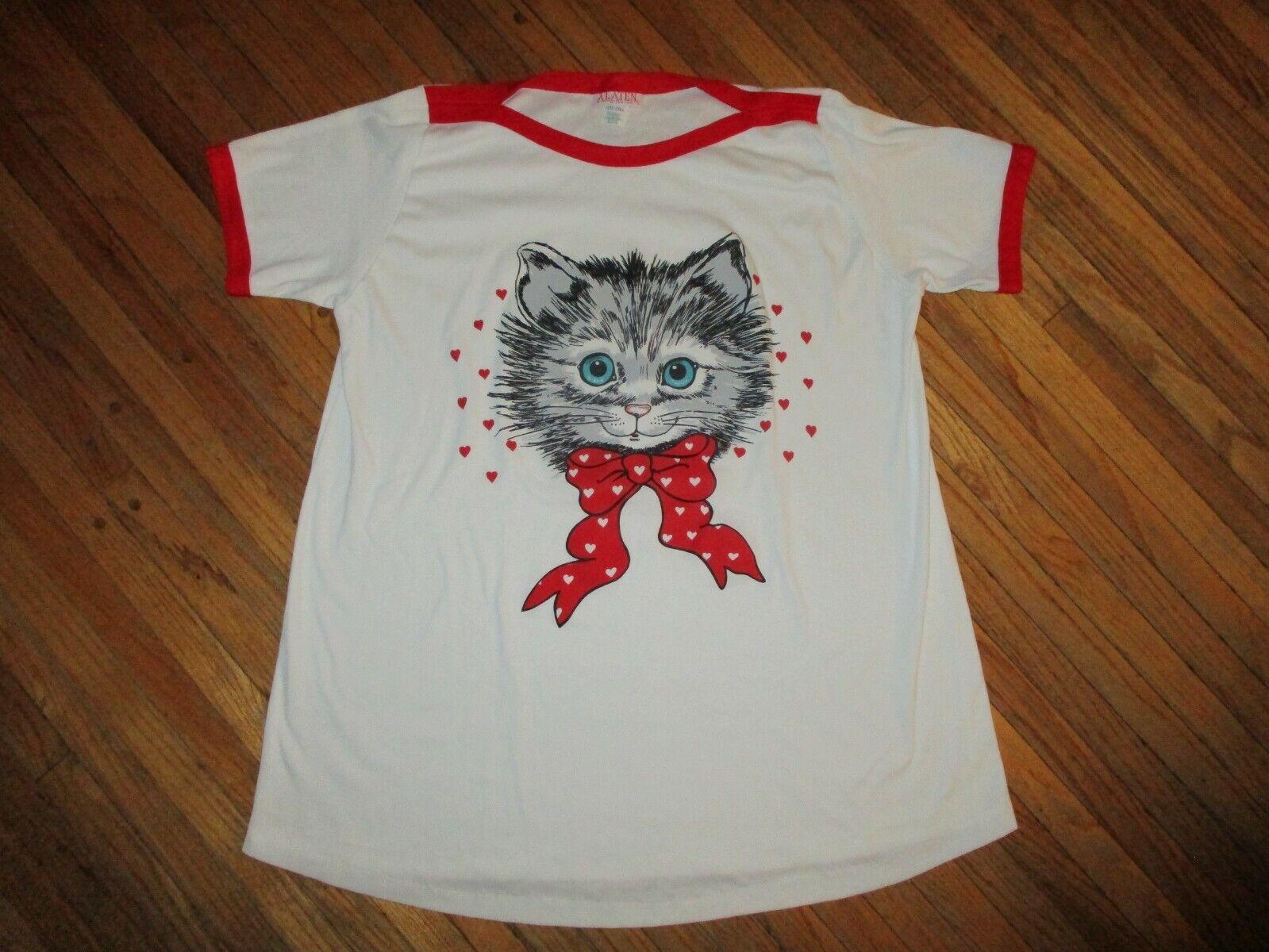 vtg 1980s KITTEN RINGER NIGHTSHIRT Sleepwear Pajamas Tee Cat Lover Alaten LARGE