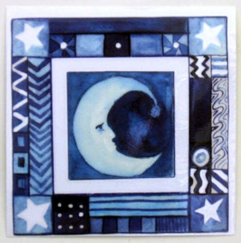 Funky Moon Permanent Rub On Transfer Glass Tile Plastic DT63