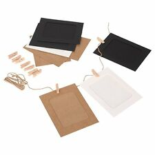 10Pcs/Set DIY Kraft Paper Photo Frame with Mini Clothespins and Stickers F16964