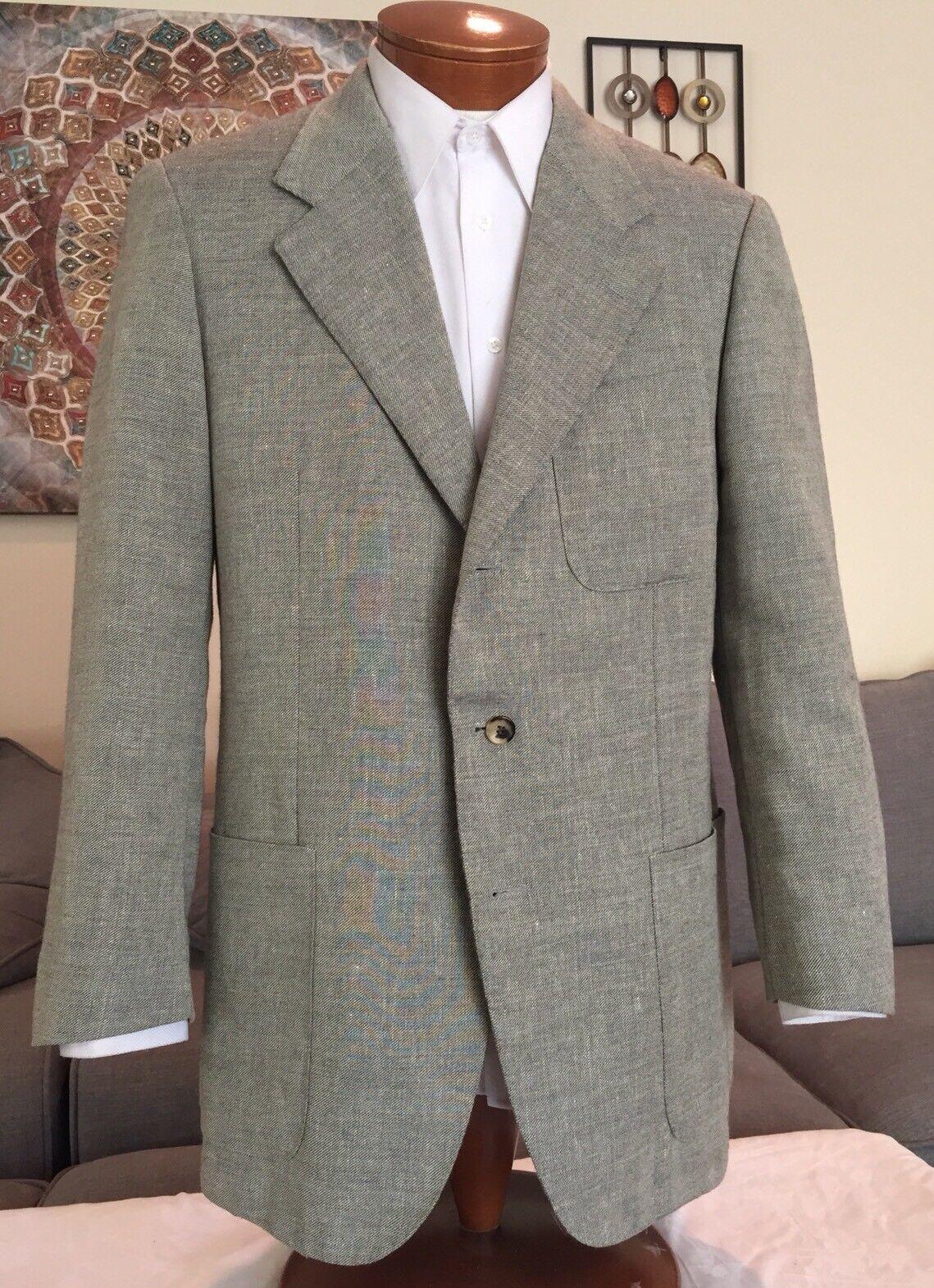 Stunning NEW Sulka Mens Beige Alpaca Flax Cotton 3 Btn Dual Vent Blazer Sz 44 R