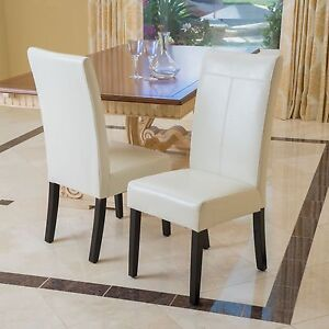 Image Is Loading Set Of 2 Dining Room Ivory Faux Leather