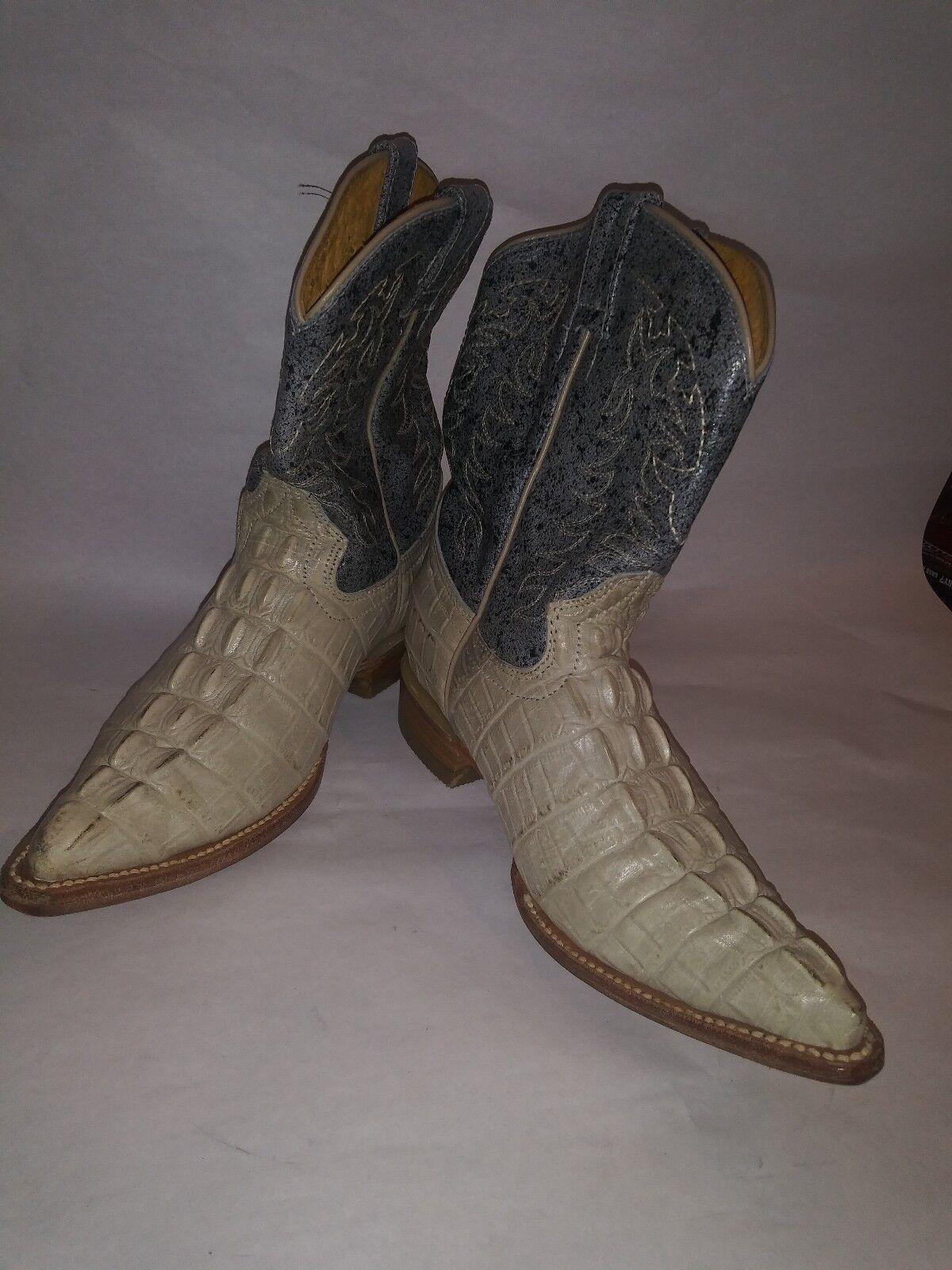 Western Premier Cowboy stivali  Crocodile Skin Collar Bone e blu Dimensione 5  prezzi bassi