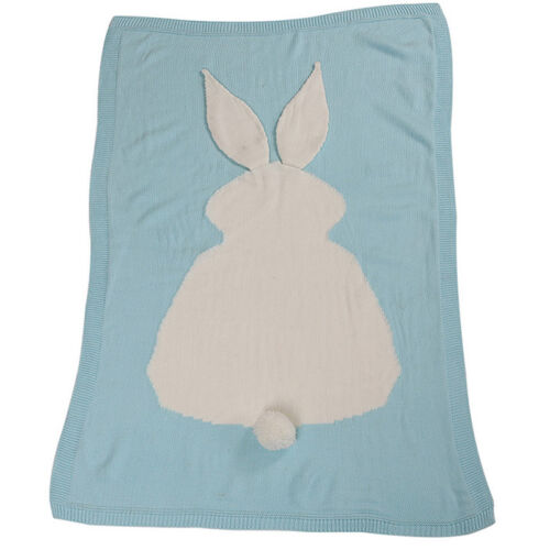 Toddler Kid Crochet Bed Sofa Beach Quilt Rug Baby Knit Wool Rabbit Bunny Blanket