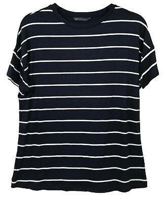 Analytisch Casual Ladies Blouse Short Sleeve Striped Lightweight Ex M&s Summer T-shirt