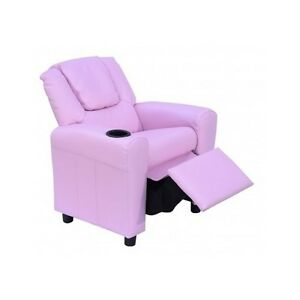 Image Is Loading Kids Recliner Lounger Armchair Pink Leather Chair Girls