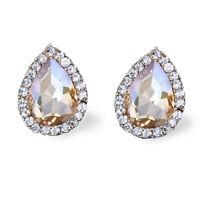 Vintage Crystal Drop Stud Earrings In Silver