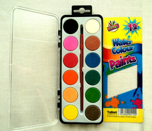 New Art Box 12 Water Colour Paints /& Brush Kids Art Craft Paint Set Watercolours