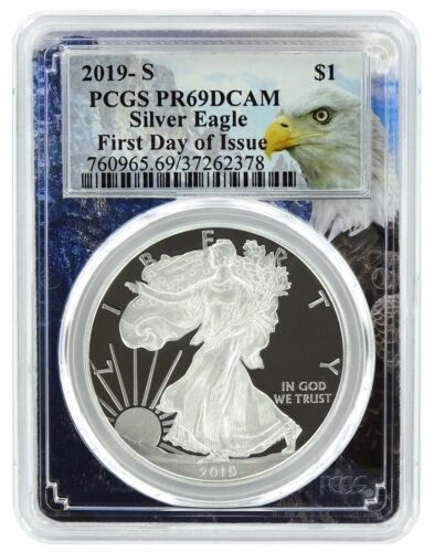 First Day Issue Eagle Frame 2019 S 1oz Silver Eagle Proof PCGS PR69
