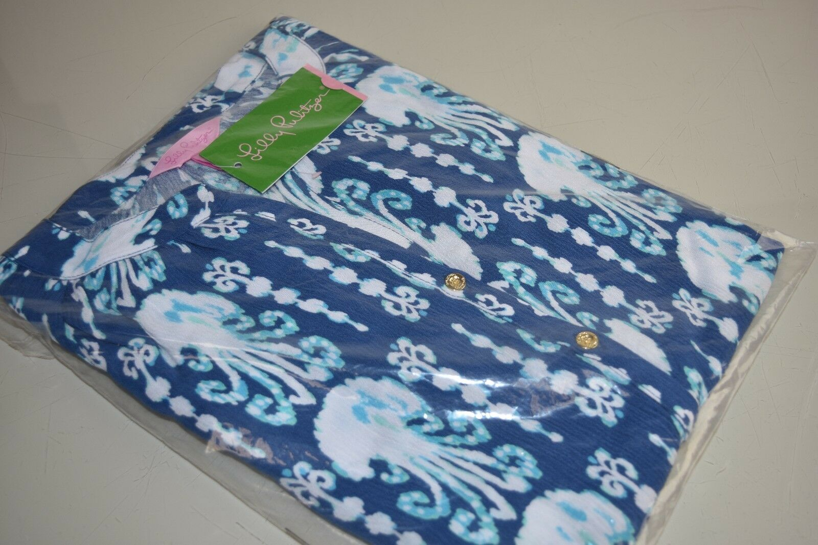 Nuovo Lilly Pulitzer Elsa Tutina Indaco Get in Line Blu Blu Blu Bianco Mussolina XS S M 67217d