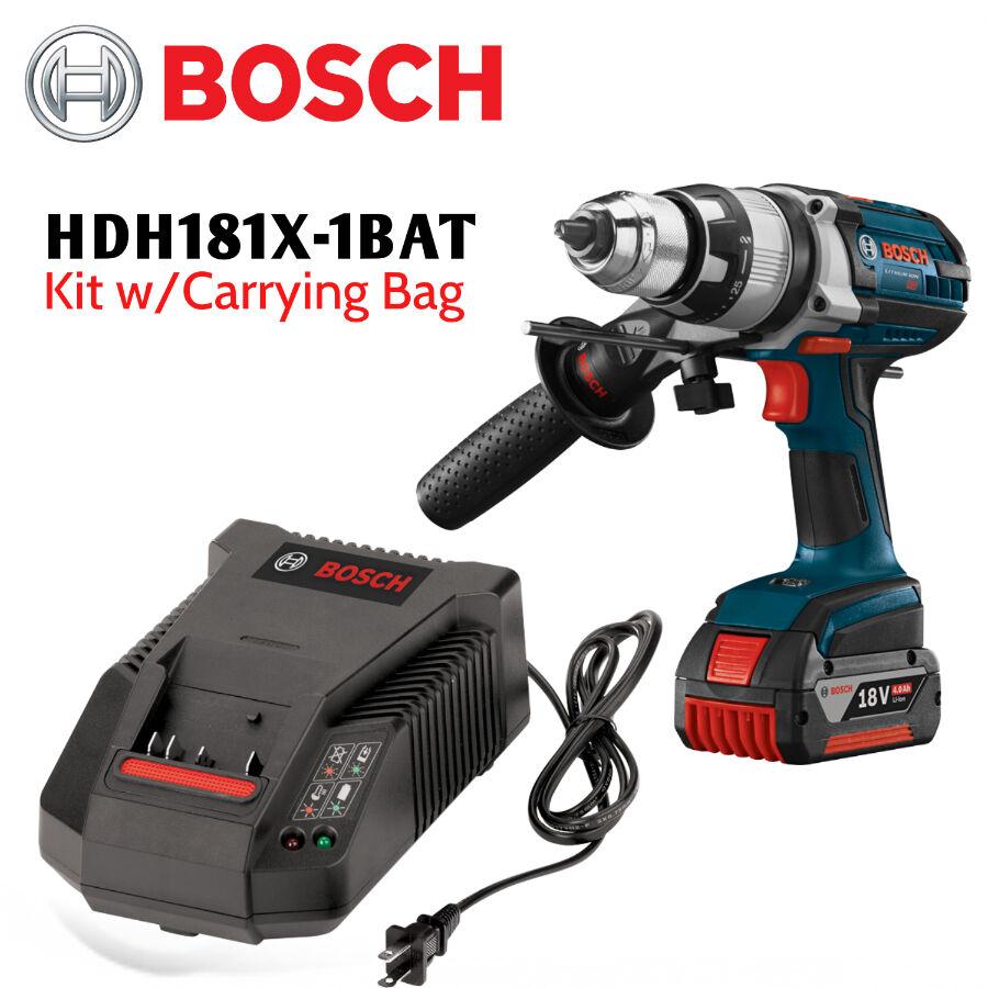 Bosch HDH181X-1BAT 18V Li-Ion 1 2  Hammer Drill KIt (4.0Ah) NEW w Full Warranty