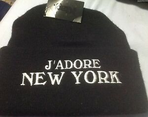 Ktag J'Adore New York  Black Adult Beanie Knit Hat One Size