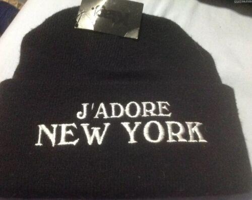 KTAG j/'adore New York Noir Adulte Bonnet Tricot Chapeau Taille Unique