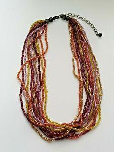 Vintage-multi-strand-multi-coloured-seed-bead-choker-length-necklace