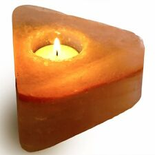 Fantasia: Triangle Shape Himalayan Salt Crystal Tealight Candle Holder