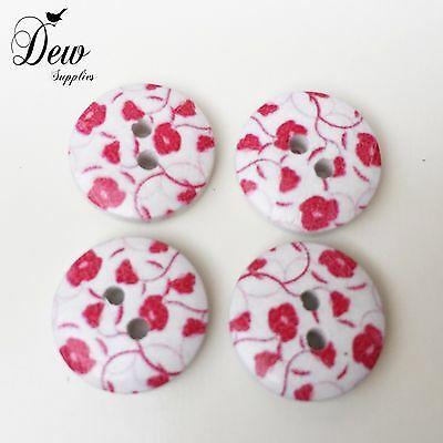wooden 2 hole button Sew Sewing Scrapbooking wood 10 x 25mm Floral Buttons