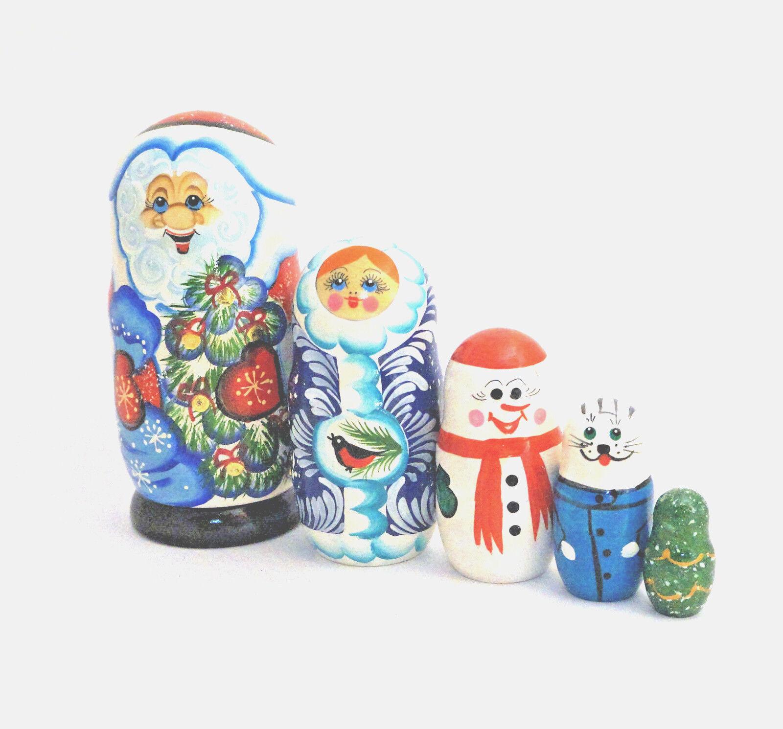 5 Pc Russian Nesting Doll , Matreshka Doll - Santa Santa Santa  7  Tall 89284b