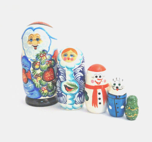 "5 Pc Russian Nesting Doll , Matreshka Doll Santa 7"" Tall"