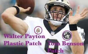 buy online d0e07 03b8a Details about Drew Brees Walter Payton Football Jersey Patch + Tom Benson  New Orleans Saints