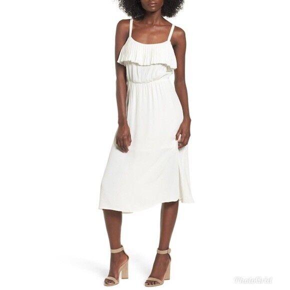 Leith Womens White Midi Slip Dress Pleated Trim Elastic Waist Lined Sz XL NWT