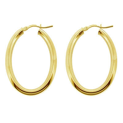 cfab90ba0556a 9ct Gold Plated 925 Silver Small Medium Large Polished Oval Hoop Creole  Earrings   eBay