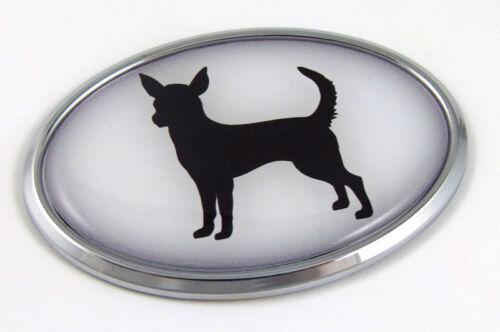 Chihuahua Dog Breeds 3D Chrome emblem Pet Decal Car Auto Bike Truck Sticker Oval