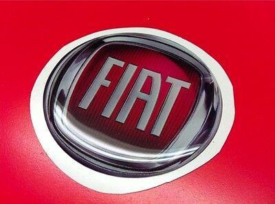1 Adesivo Resinato Sticker 3d Fiat Red 55 Mm