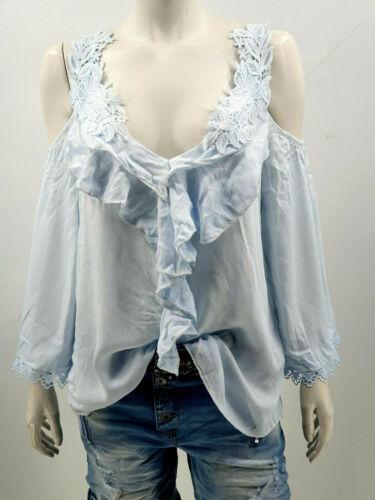 Damen Bluse Tunika Schulterfrei Pastellfarben Spitze Rüsche One Size Gr.38-42