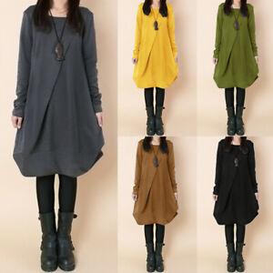Mode-Femme-Robe-Loisir-Manche-Longue-Col-Rond-Decontracte-lache-Party-Dresse