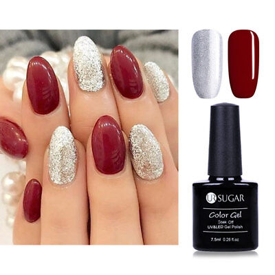 red and silver glitter gel nails  red  silver glitter