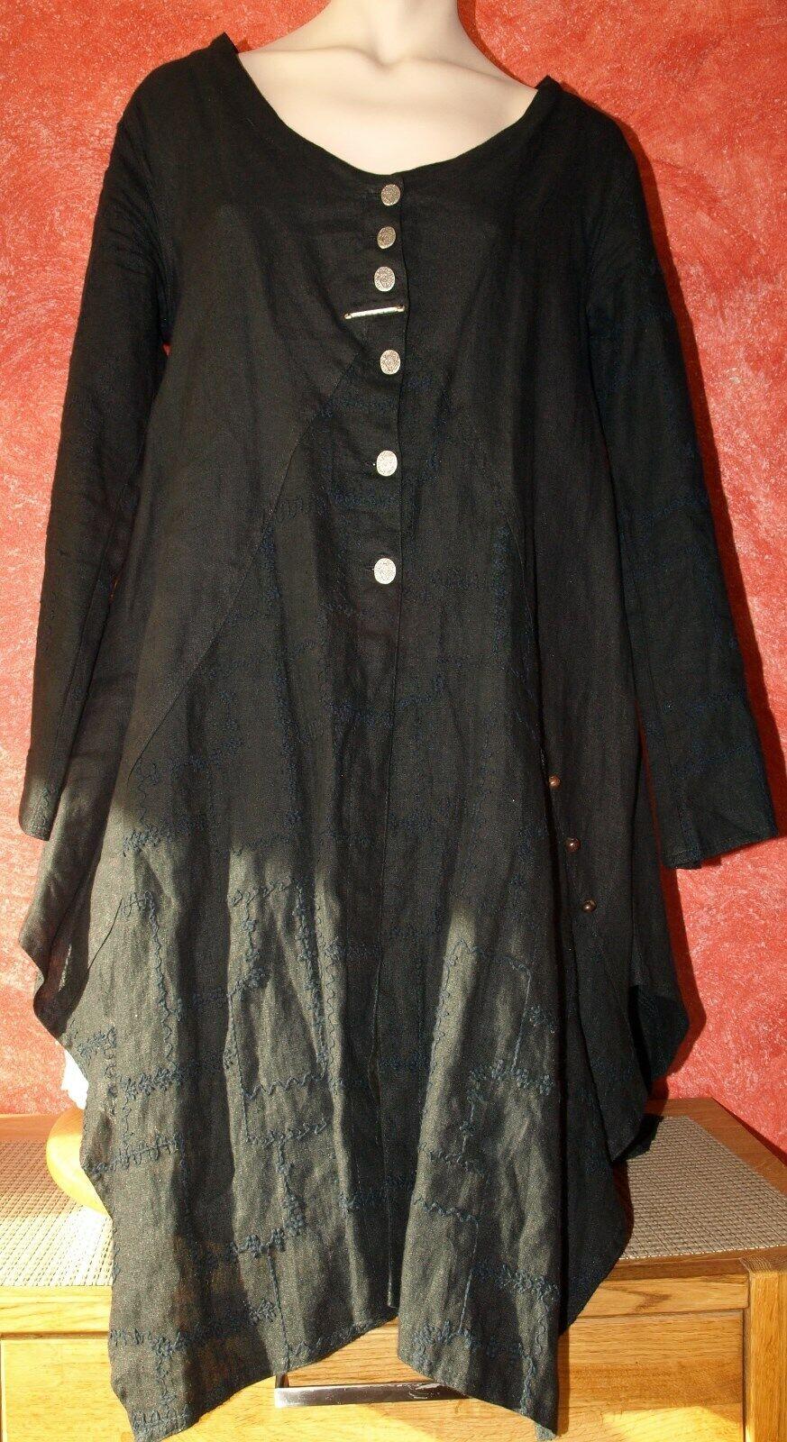 Caty Lesca Gr. 1, 40 42 Kleid Blause Tunika Gehrock Reines Leinen Lagenlook